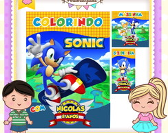 Kit colorir giz massinha Sonic