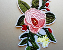 Aplique Termocolante Patch Flores Rosas Bordadas Diy