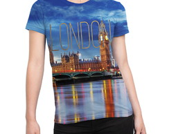 Camiseta Baby Look Feminina Londres Estampa Total