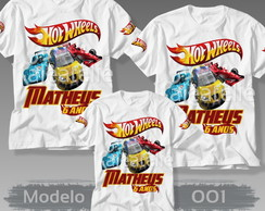 Kit 3 Camisetas Hot Wheels Personalizada com Nome Idade