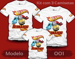 Kit 3 Camisetas Hot Wheels Personalizada com Nome e Idade