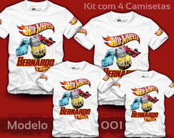 Kit 4 Camisetas Hot Wheels Personalizada com Nome e Idade