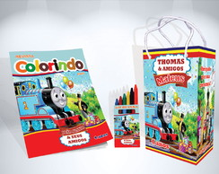 Kit de Colorir Thomas e seus amigos Revista Sacola Giz