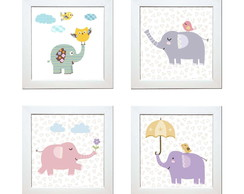 Quadros Decorativos C/ Moldura Tema Animal- Kit De 4 Quadros