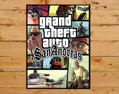 Quadro Decorativo Grand Theft Auto San Andreas Gta Ps2 30x42
