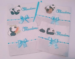 "Kit de fraldas Bordada ""Panda"""