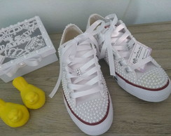 ... Tênis All Star customizado com pérolas c089590584701