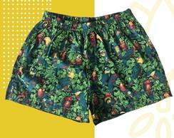 ... Short Masculino Estampado Tropical Araras Com Bolso 7360da630c71a