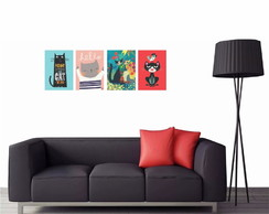 ... Kit 4 Quadros Decorativo Gatos Felinos 40x30-QGM03040607 3b4409a908