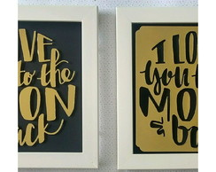 Duo de Quadros decorativos to the moon and back