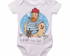 d3cbba947842 ... Body Bebê Roupa Infantil Marinheiro born to be free pirata