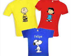 Kit 5 Camisetas Charlie Brown Snoopy Lucy Sally Woodstock