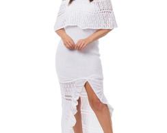 7038d2ea0 Vestido Longo Tricot Fendas Branco Frete Grátis 05054 no Elo7 | Loja ...