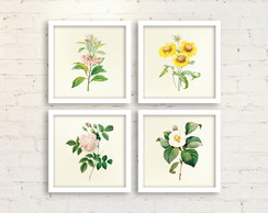 Kit 4 Quadros Decorativos com Molduras - Flores