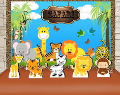 Kit Festa Prata Painel + Display Floresta Safari, Animais