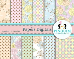 Kit Papel Digital - Floral Pastel Vintage