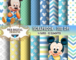 SCRAPBOOK Baby Mickey- 16 Papeis - 02 Elementos - CD03
