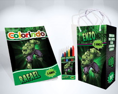 Kit de Colorir Hulk Revista Sacola Giz