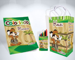 Kit de Colorir Mickey Safari Revista Sacola Giz