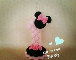 Vela 1 ano Minie Mouse rosa Biscuit