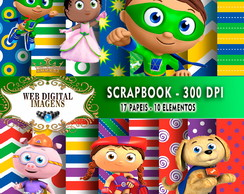 SCRAPBOOK Superwhy - 17 Papeis 10 Elementos - CD99