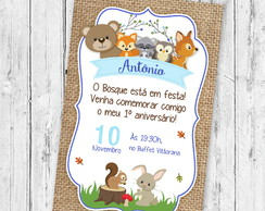 Convite digital Animais do Bosque | Woodland | Floresta