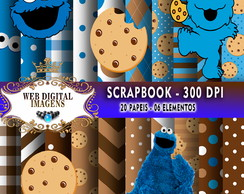 SCRAPBOOK Cookie Monster- 20 Papeis 6 Elementos - CD22