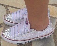 Tenis All Star Adulto com Strass e Perolas  057898db30950