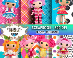 SCRAPBOOK Lalaloopsy - 14 Papeis - 12 Elementos - CD49