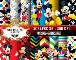 SCRAPBOOK Mickey Mouse - 16 Papeis - 55 Elementos - CD60