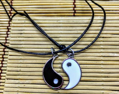 2 Colares Best Friend/namoro -Yin Yang Cordão 40/60 Cm Couro