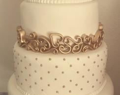 Bolo Branco Com Dourado Elo7