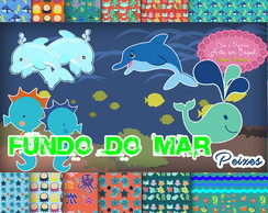 Kit Digital Fundo do Mar peixes