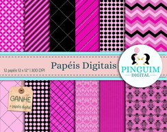 Kit Papel Digital - Preto e Rosa