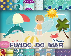 Kit Digital fundo do mar praia