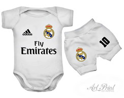 Conjunto Baby do Real Madrid c/ Nome Personalizado