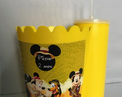 Pipofri Balde de pipoca 1 L + Copo Long Drink Mickey Safari