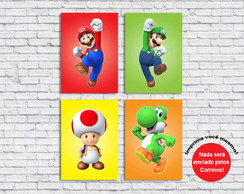 Poster Digital Mario Bros Turma (Arquivo A4 para download)
