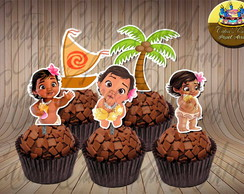 Moana Baby 50 toppers para doces