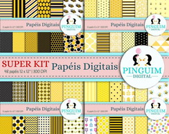 Super Kit Papel Digital - Amarelo e preto - Abelhinha