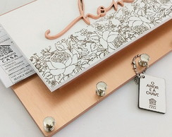 Porta Chaves/Cartas Momento Casa Home Rose Gold
