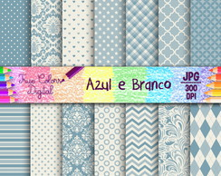 Kit Papel Digital Azul e Branco