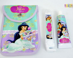 Kit Dental c/ porta escova Jasmine e Aladdin