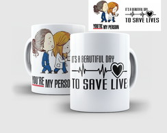 Caneca de Porcelana Grey's Anatomy kawaii