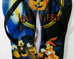 Chinelo Personalizado Halloween Mickey e Minnie