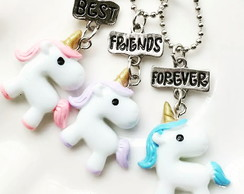 Kit 3 Colares Best Friends Coloridos Unicornio