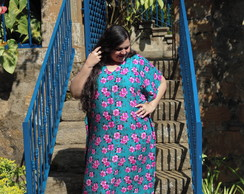 Kaftan Longo Plus Size Floral Exclusivo