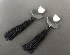 Brincos Black and White Tassel 4154