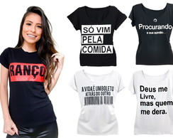 ... Kit10 T-shirts Blusa Feminina Frases Roupas Atacado Revenda 47f35436f83
