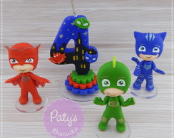 Kit Miniaturas + vela decorada PJ Masks